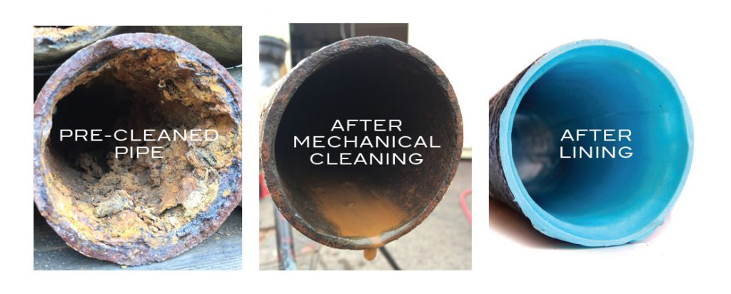 Before and after pipe lining